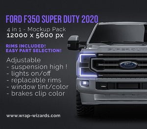 Ford F350 Super Duty 2020 all sides Car Mockup Template.psd