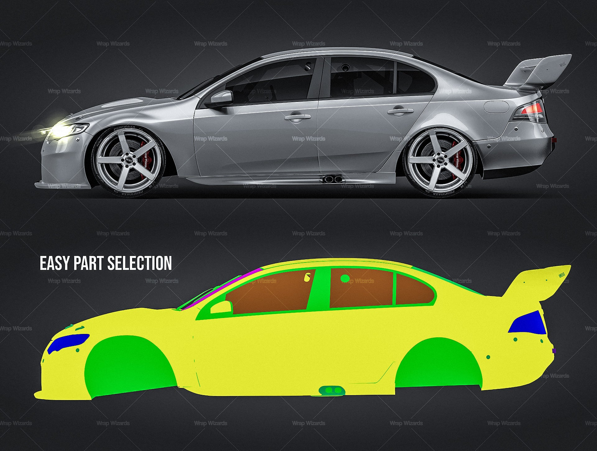 Ford Falcon FG V8 Supercar 2014 glossy finish - all sides Car Mockup Template.psd