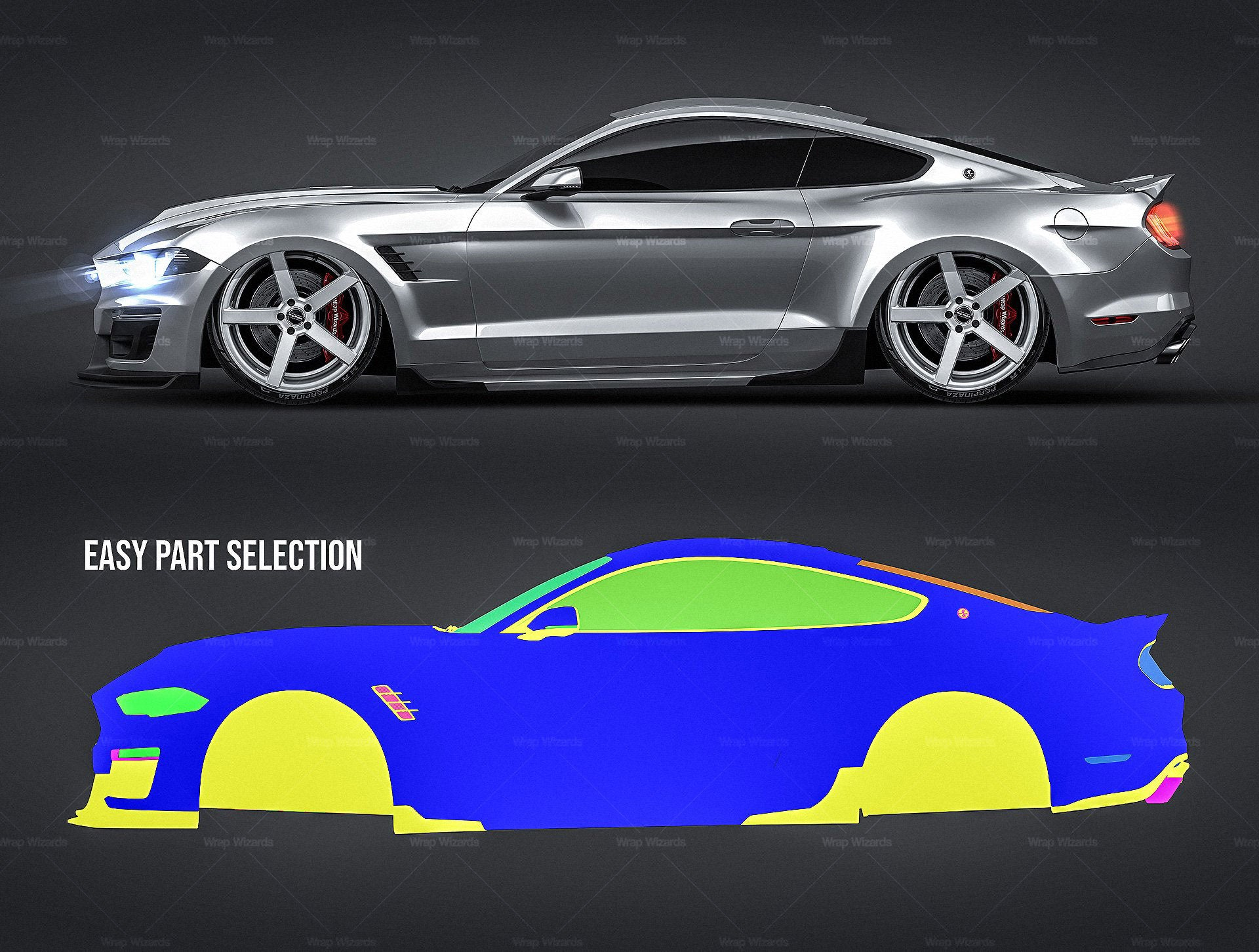 Ford Mustang Shelby Super Snake 2018 - all sides Car Mockup Template.psd