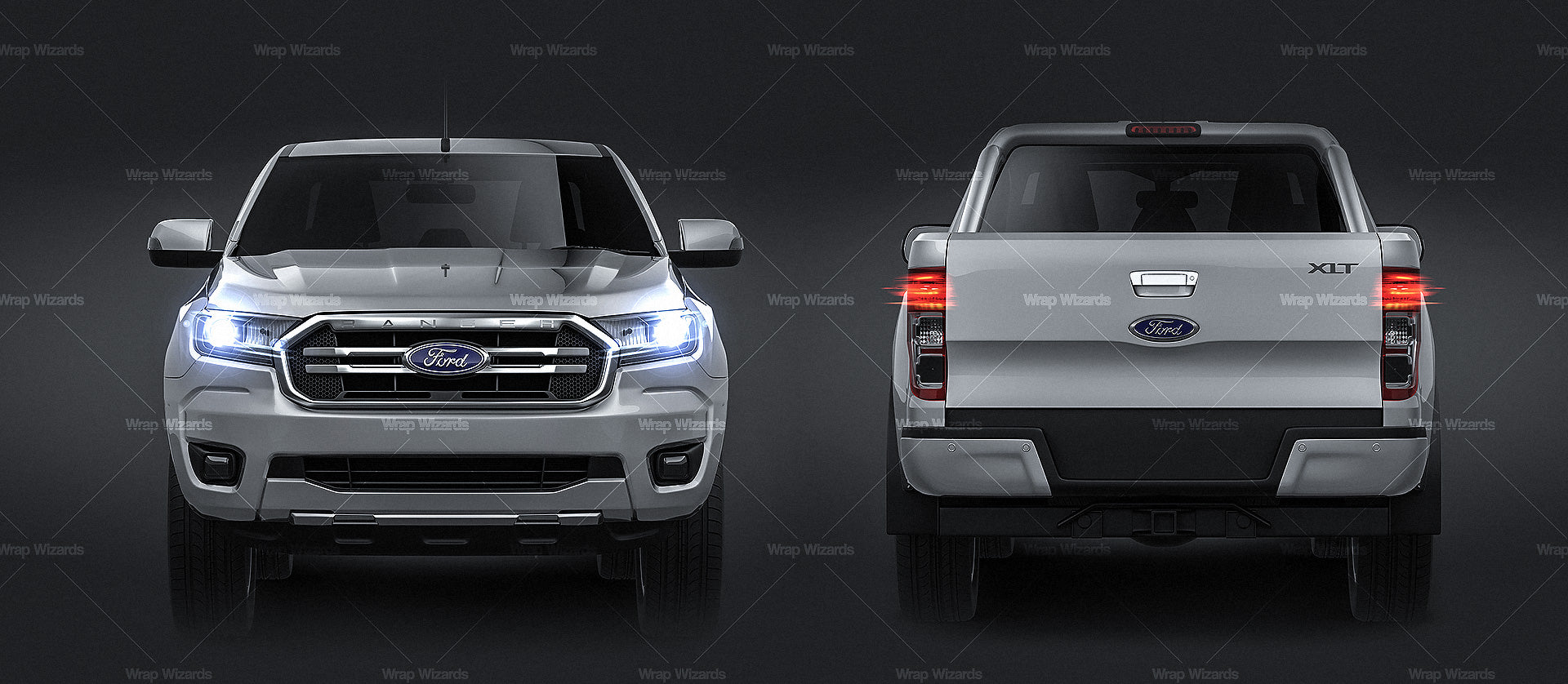 Ford Ranger DoubleCab XLT 2018 all sides Car Mockup Template.psd