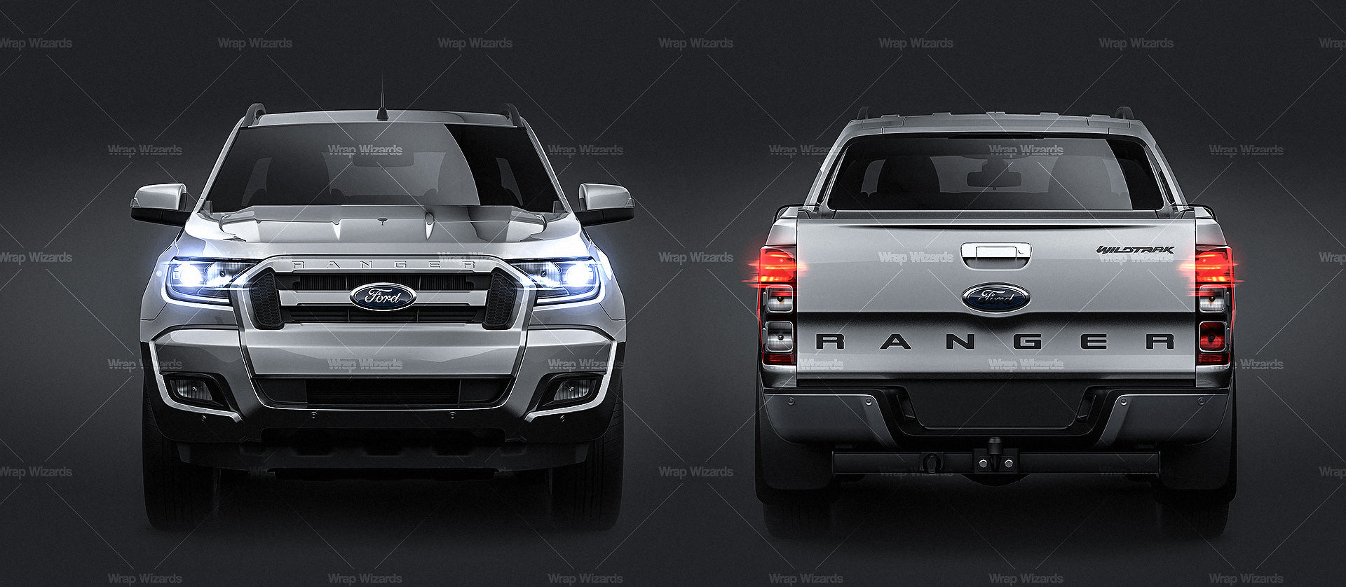 Ford Ranger Wildtrak 2017  all sides Car Mockup Template.psd