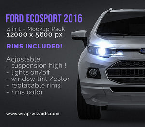 Ford EcoSport 2016 all sides Car Mockup Template.psd