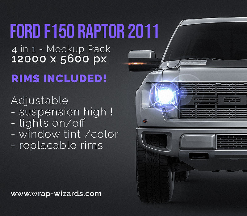 Ford F150 Raptor 2011 all sides Car Mockup Template.psd