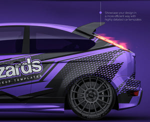 Ford Focus RS 2009 all sides Car Mockup Template.psd