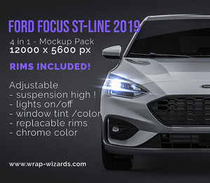 Ford Focus ST-line 2019 all sides Car Mockup Template.psd