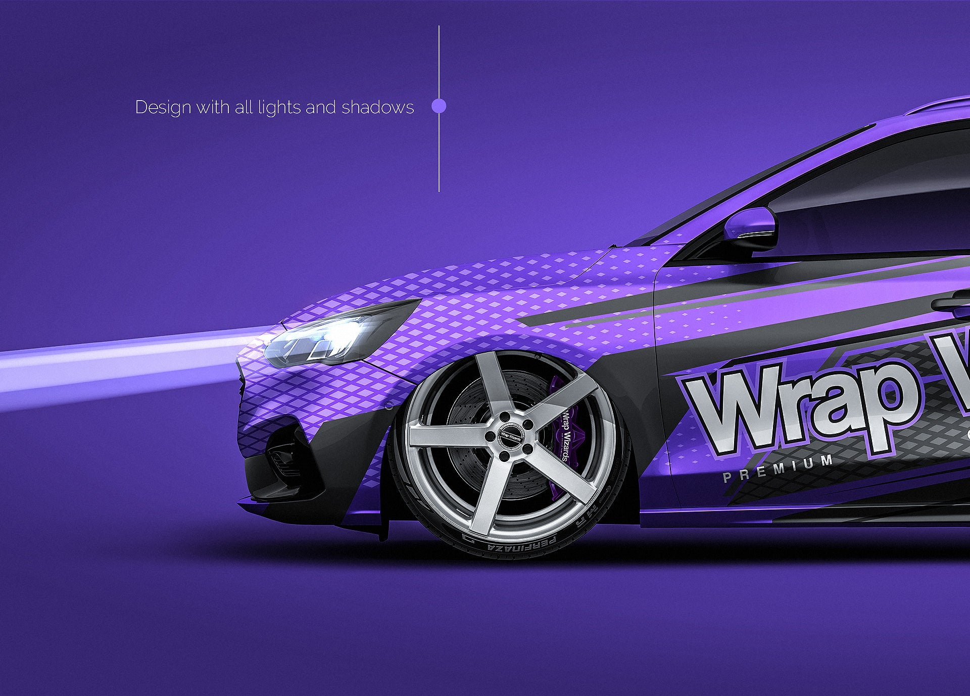 Ford Focus ST Wagon 2020 all sides Car Mockup Template.psd