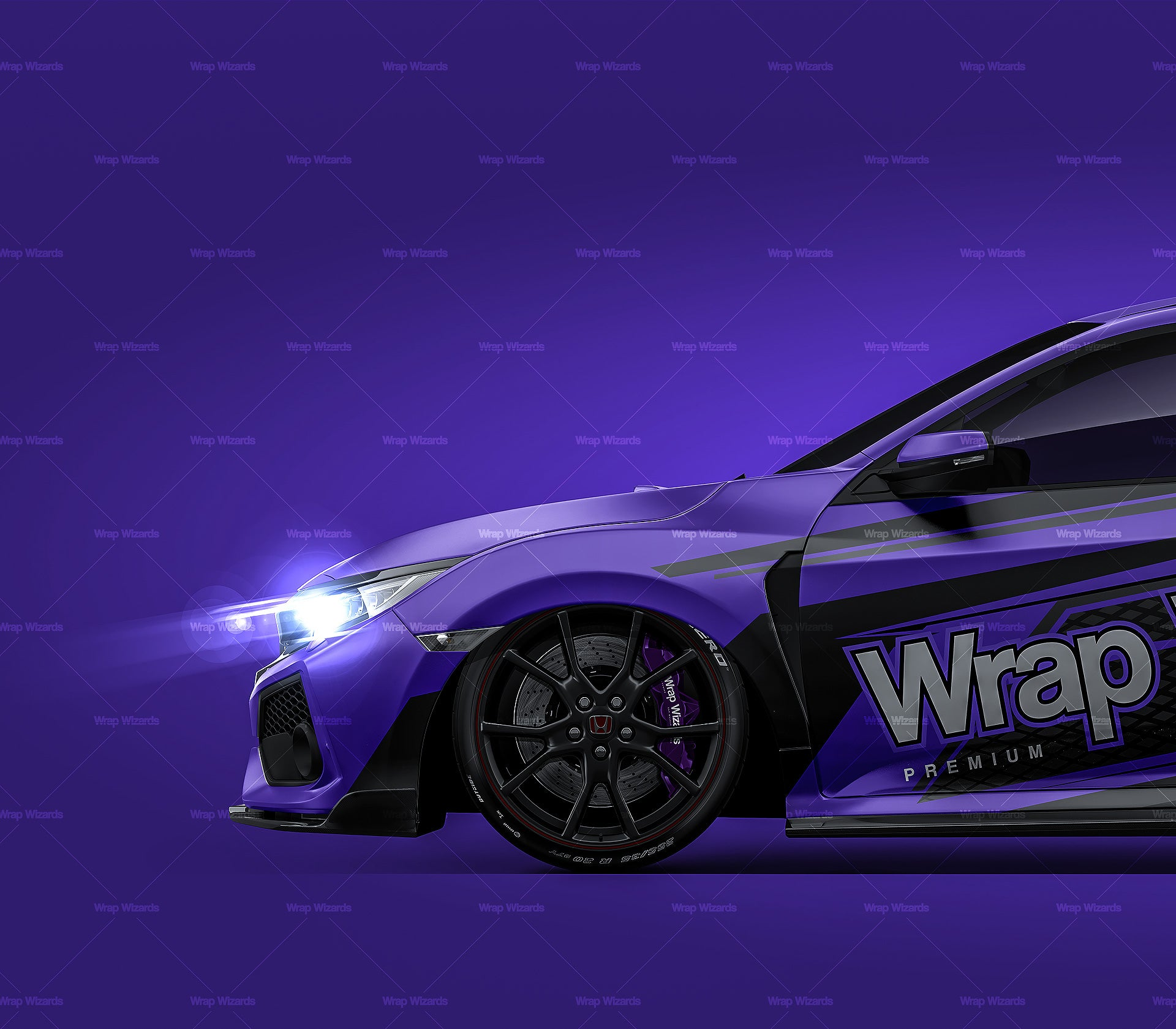 Honda Civic Type R 2018 satin matt finish - all sides Car Mockup Template.psd