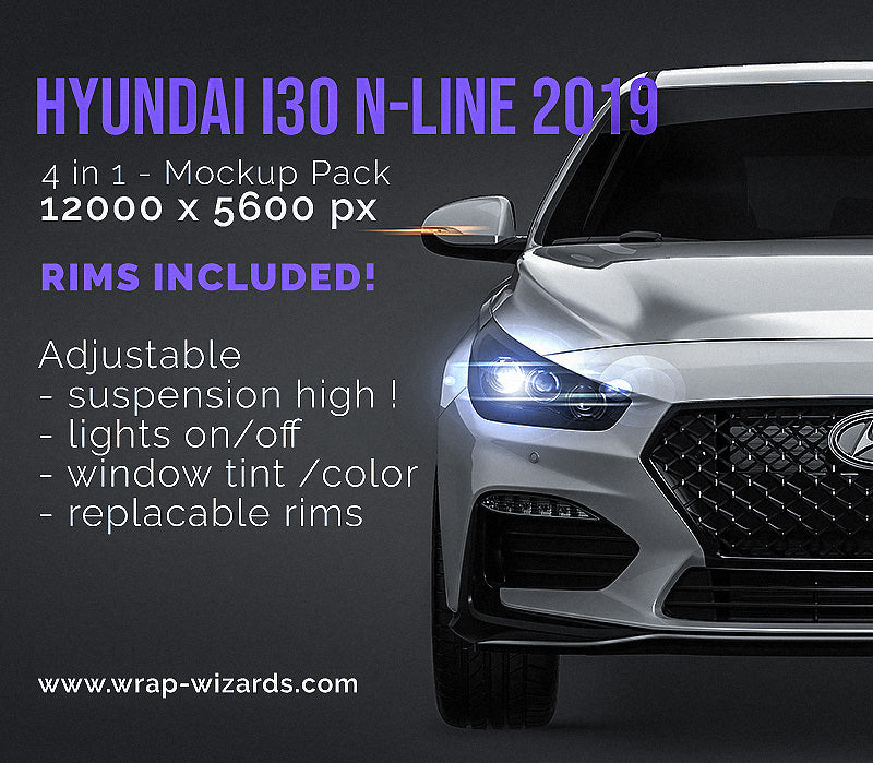 Hyundai I30 N-Line 2019 all sides Car Mockup Template.psd
