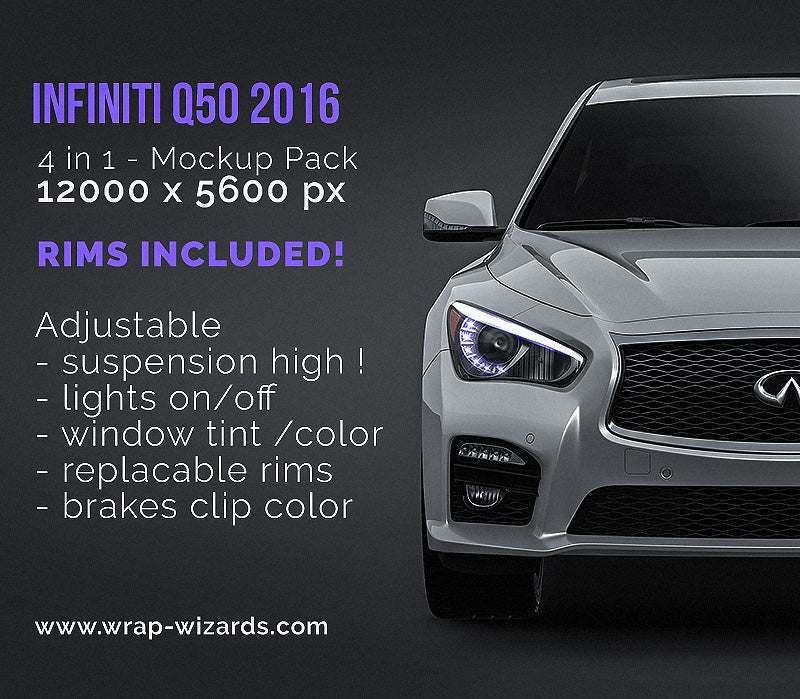 Infiniti Q50 2016 - all sides Car Mockup Template.psd