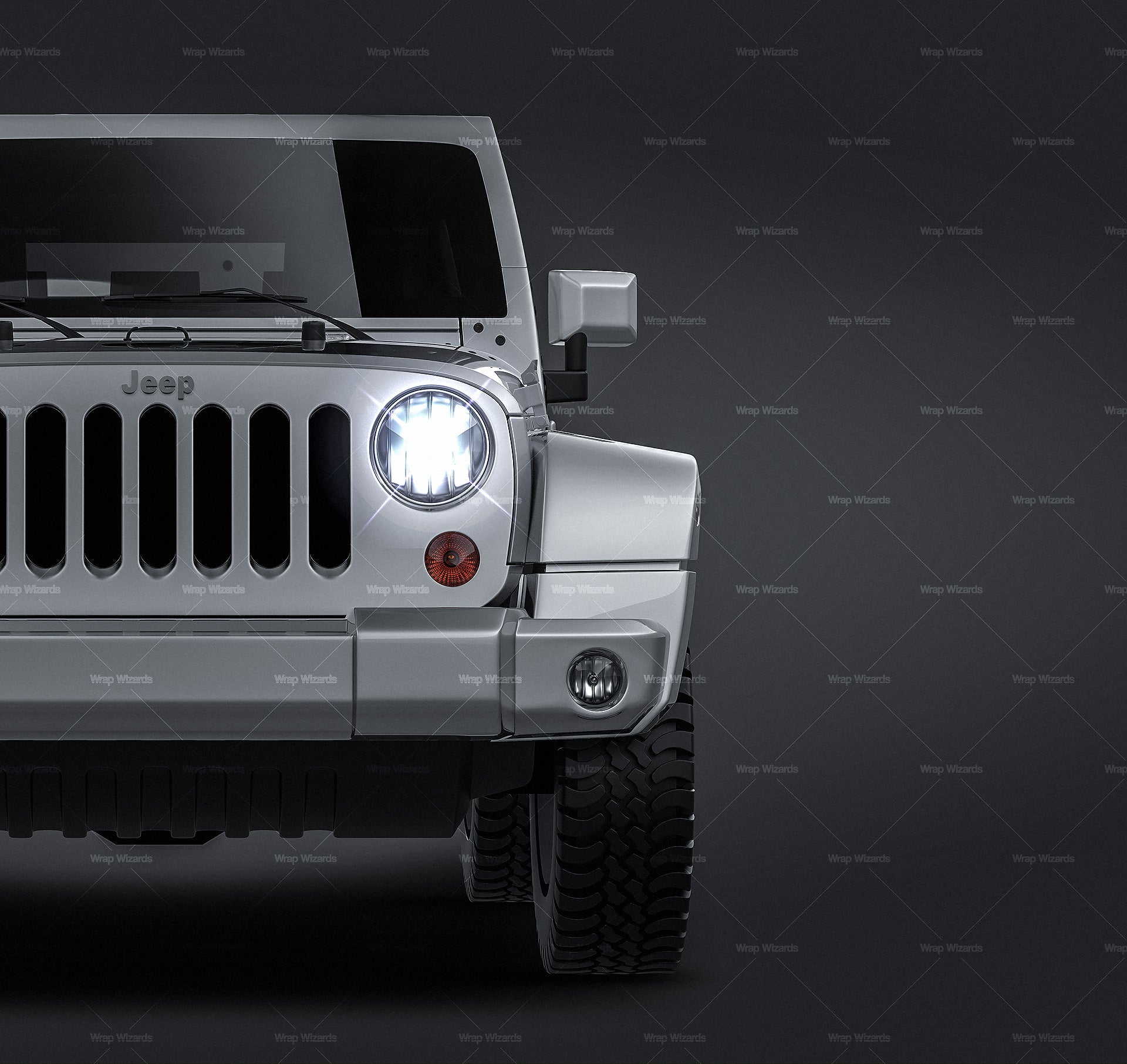 Jeep Wrangler 2012 all sides Car Mockup Template.psd