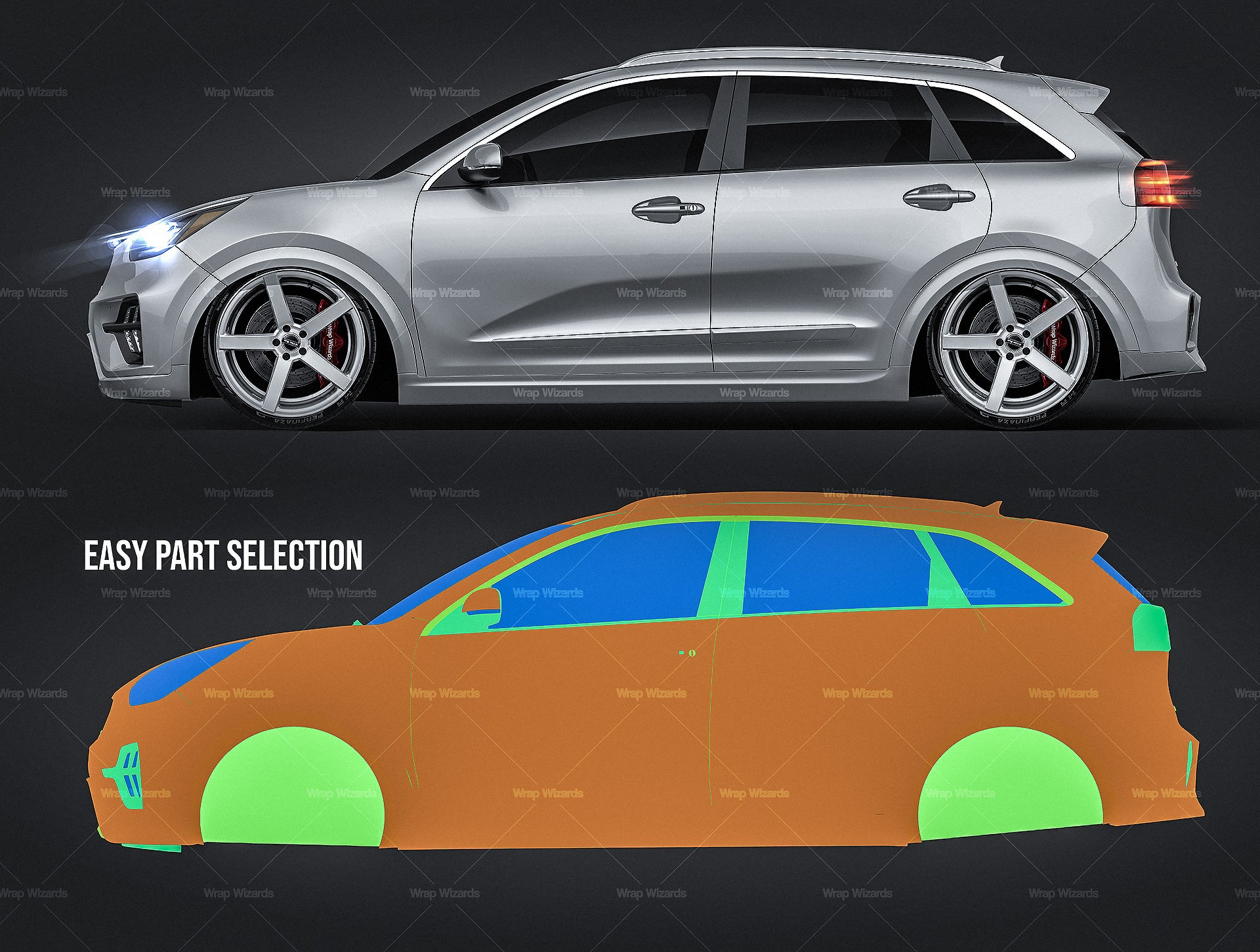 Kia Niro Hybrid 2020 all sides Car Mockup Template.psd