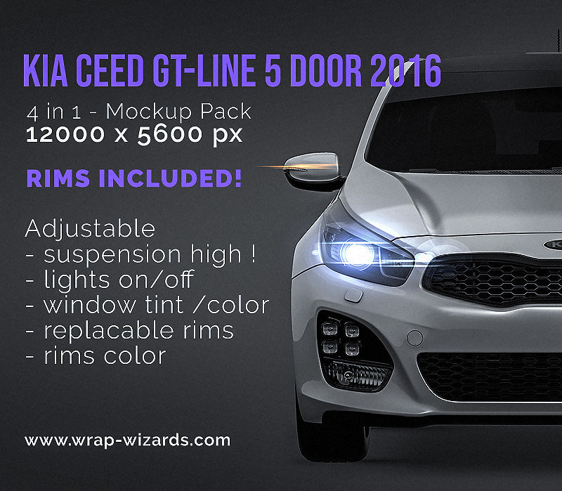 Kia Ceed GT-Line 5 door 2016 all sides Car Mockup Template.psd