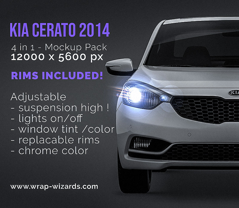 Kia Cerato 2014 all sides Car Mockup Template.psd