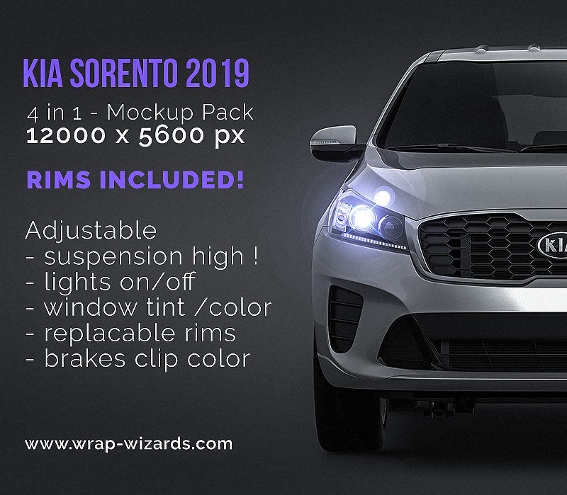 Kia Sorento 2019 - all sides Car Mockup Template.psd