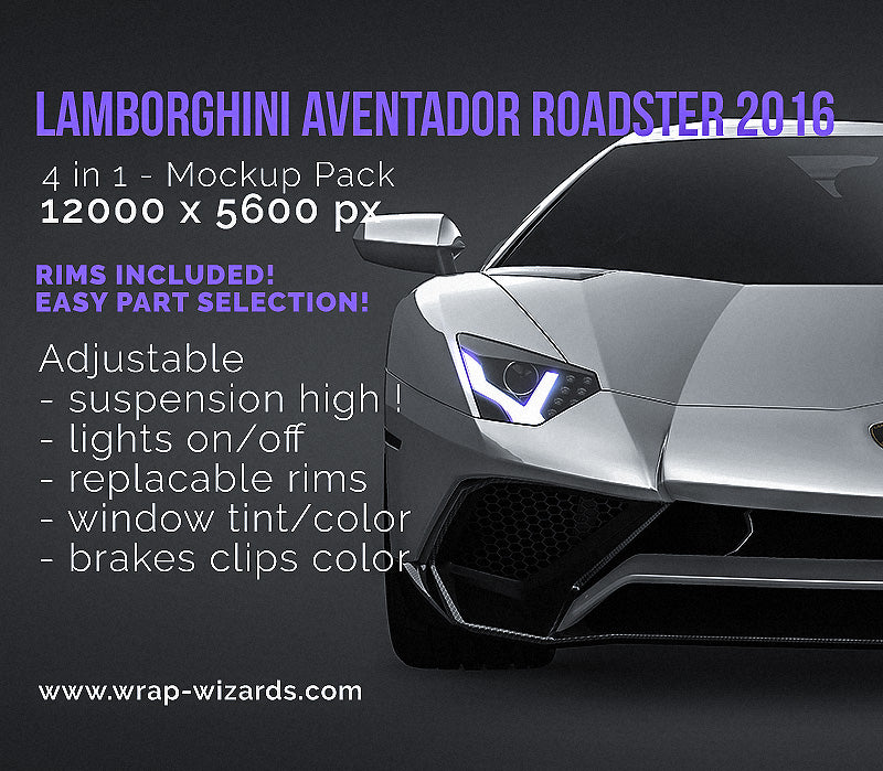 Lamborghini Aventador LP750-4 SV Roadster 2016 glossy finish - all sides Car Mockup Template.psd