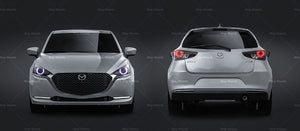 Mazda 2 2020 all sides Car Mockup Template.psd