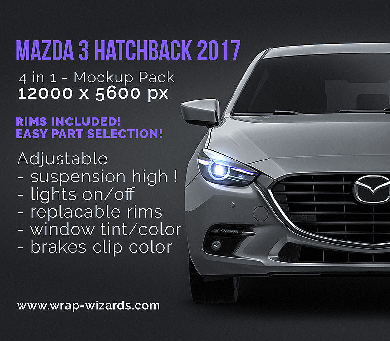 Mazda 3 Hatchback 2017 glossy finish - all sides Car Mockup Template.psd