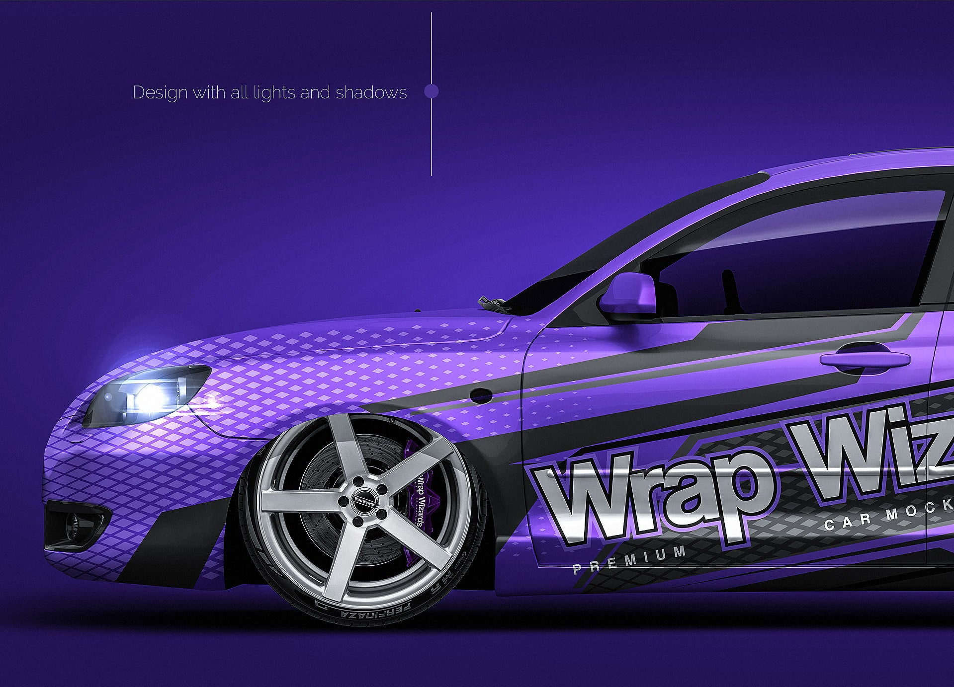 Mazda 3 2007 glossy finish - all sides Car Mockup Template.psd