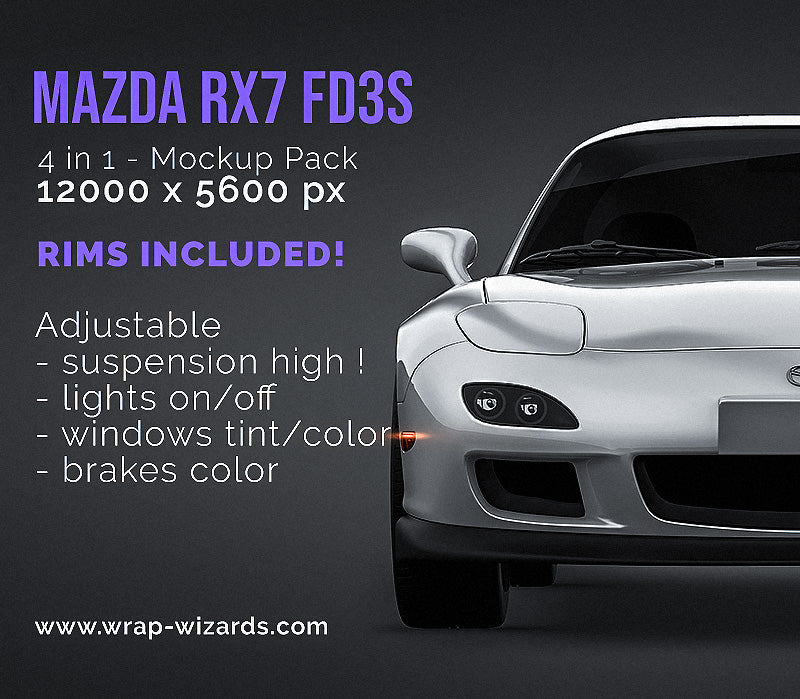 Mazda RX7 FD3S all sides Car Mockup Template.psd