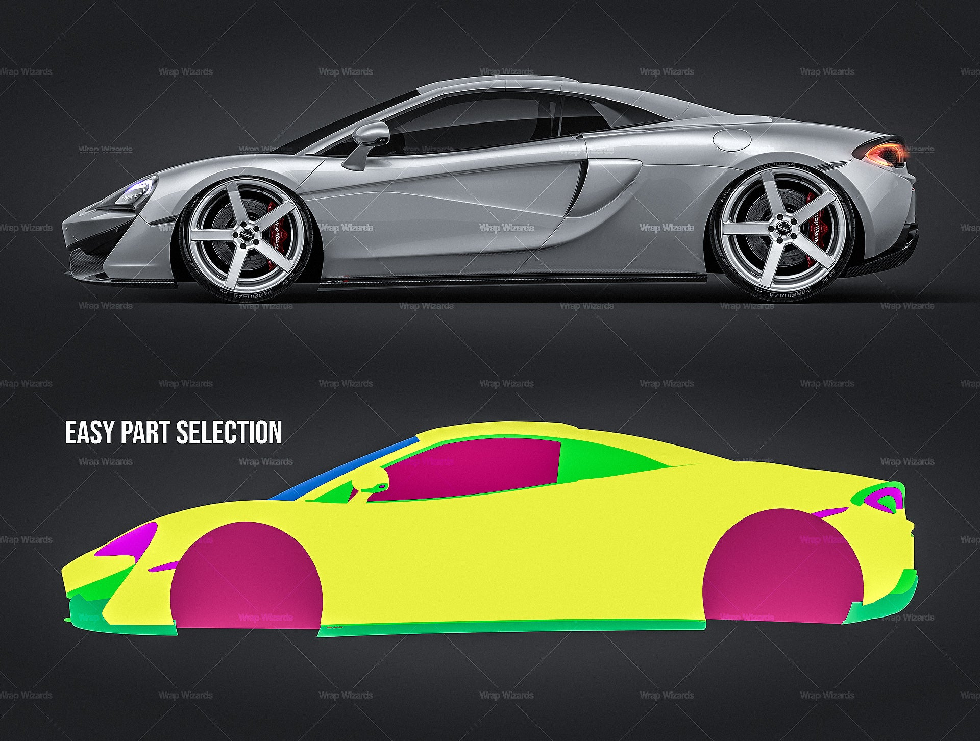 McLaren 570S Spider 2018 all sides Car Mockup Template.psd