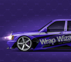 Mercedes-Benz 190E W201 Evolution II 1990 glossy finish - all sides Car Mockup Template.psd