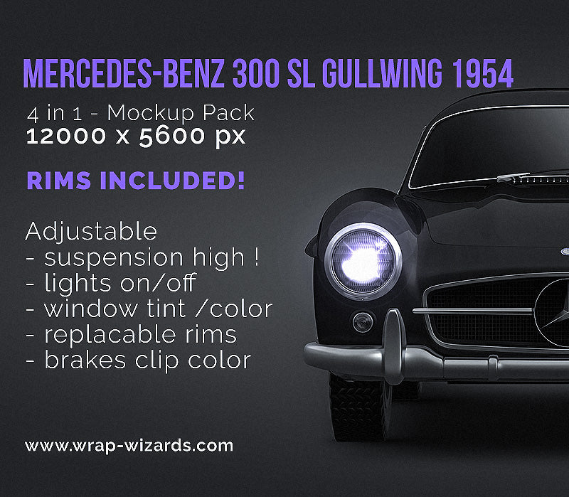 Mercedes-Benz 300 SL Gullwing 1954 - all sides Car Mockup Template.psd