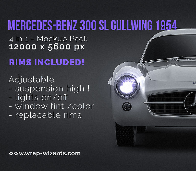 Mercedes-Benz 300 SL Gullwing 1954 NB - all sides Car Mockup Template.psd