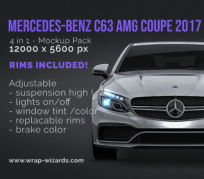 Mercedes-Benz C63 AMG Coupe 2017 all sides Car Mockup Template.psd