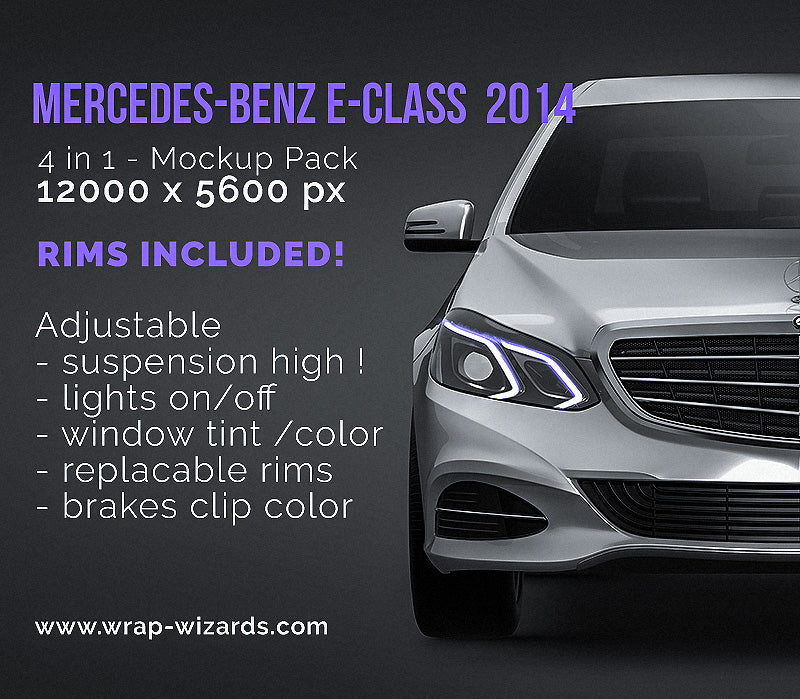 Mercedes-Benz E-Class 2014 glossy finish - all sides Car Mockup Template.psd