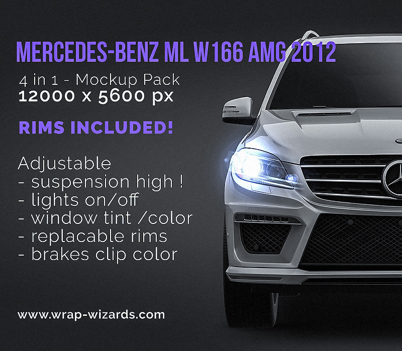 Mercedes-Benz ML W166 AMG 2012 - all sides Car Mockup Template.psd