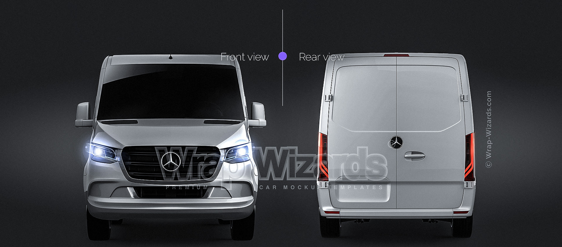Mercedes-Benz Sprinter Compact Short L1H1 2019 glossy finish - all sides Car Mockup Template.psd