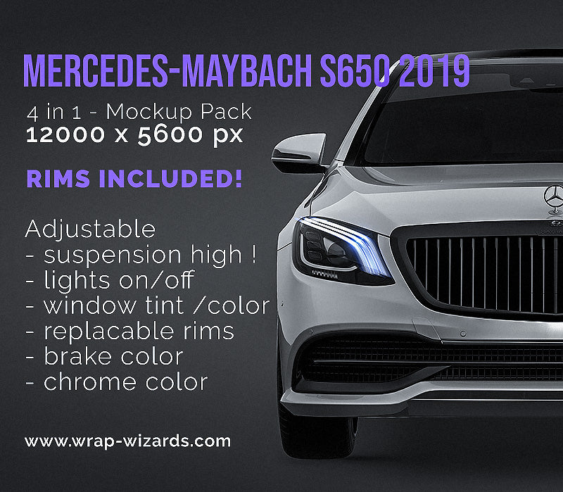 Mercedes-Maybach S650 2019 all sides Car Mockup Template.psd