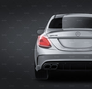 Mercedes Benz AMG C63 Sedan 2019 all sides Car Mockup Template.psd