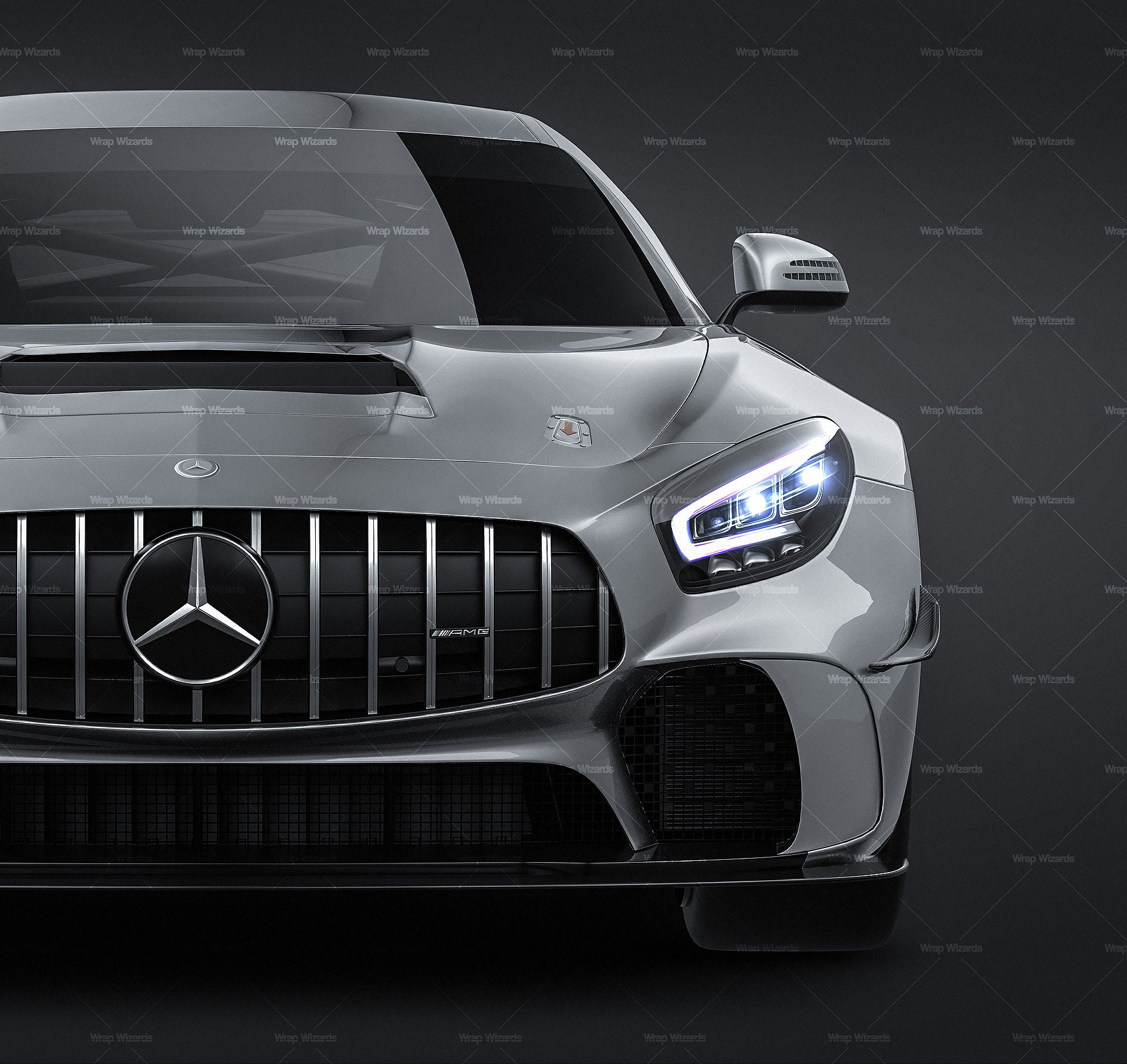Mercedes Benz AMG GT4 2020 all sides Car Mockup Template.psd