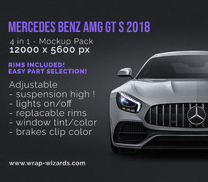 Mercedes Benz AMG GT S 2018 all sides Car Mockup Template.psd