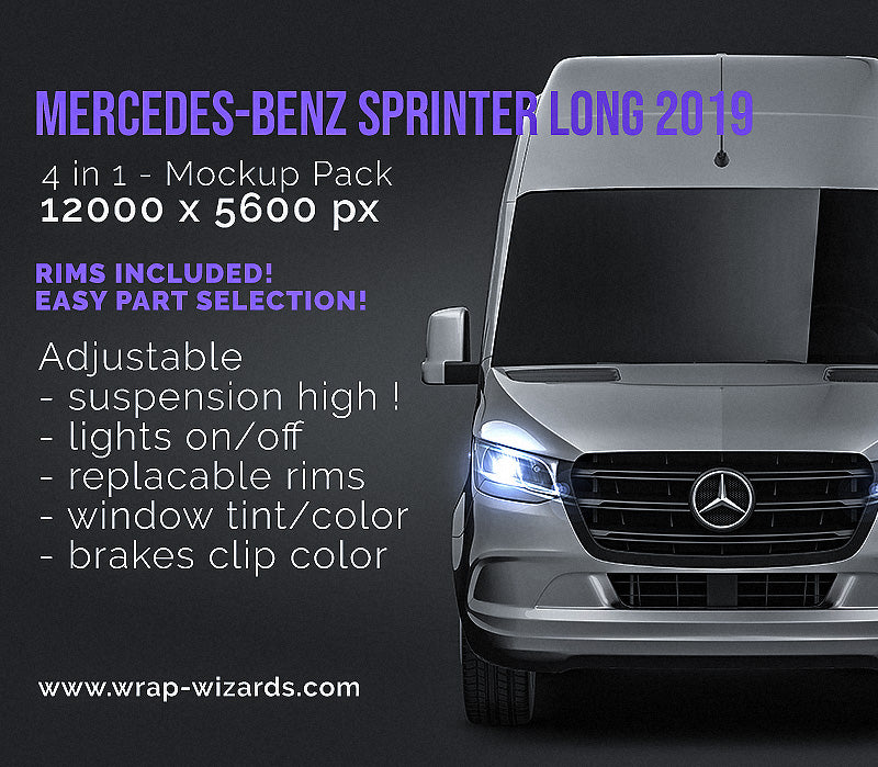 Mercedes Benz Sprinter Long 2019 - all sides Car Mockup Template.psd