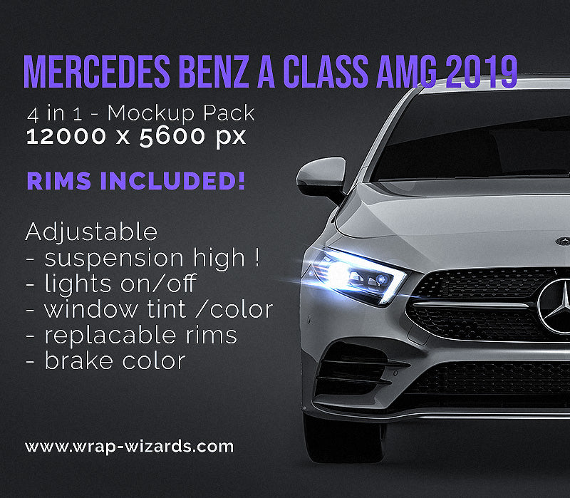 Mercedes Benz A Class AMG 2019 all sides Car Mockup Template.psd