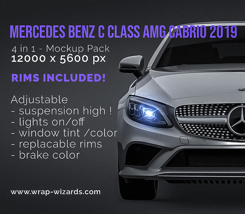 Mercedes Benz C class AMG cabrio 2019 all sides Car Mockup Template.psd