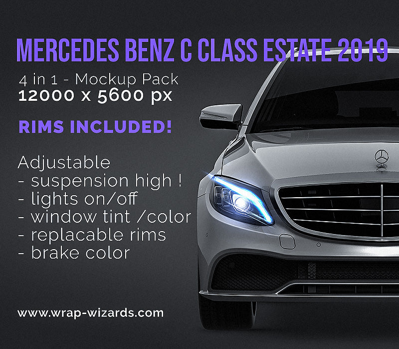 Mercedes Benz C class Estate 2019 all sides Car Mockup Template.psd