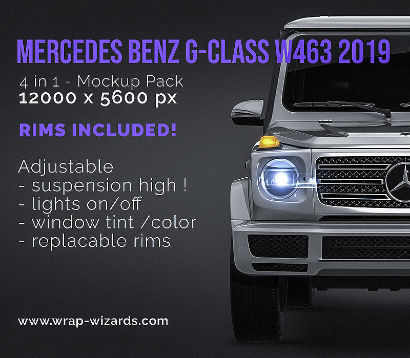 Mercedes Benz G-class W463 2019 all sides Car Mockup Template.psd