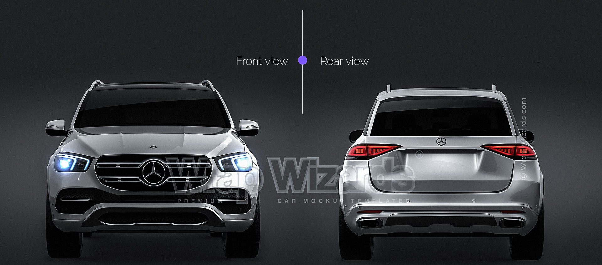 Mercedes Benz GLE 2020 all sides Car Mockup Template.psd