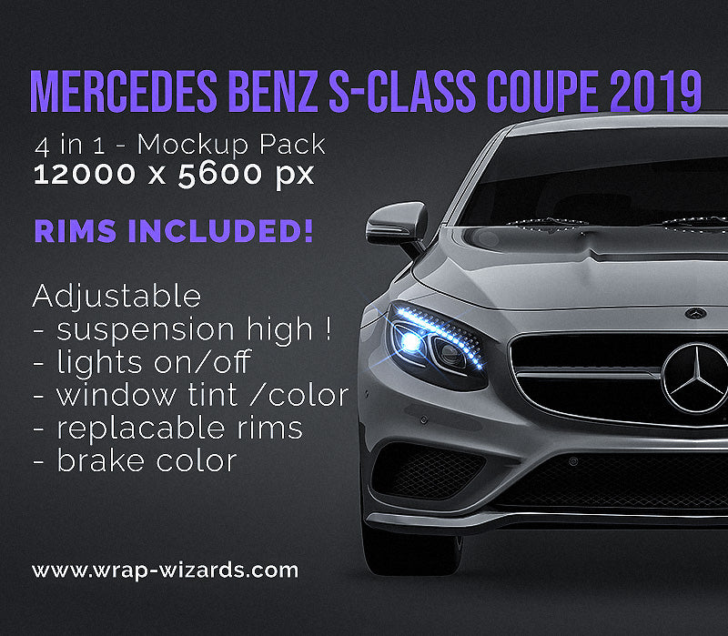 Mercedes Benz S-Class coupe 2019 all sides Car Mockup Template.psd