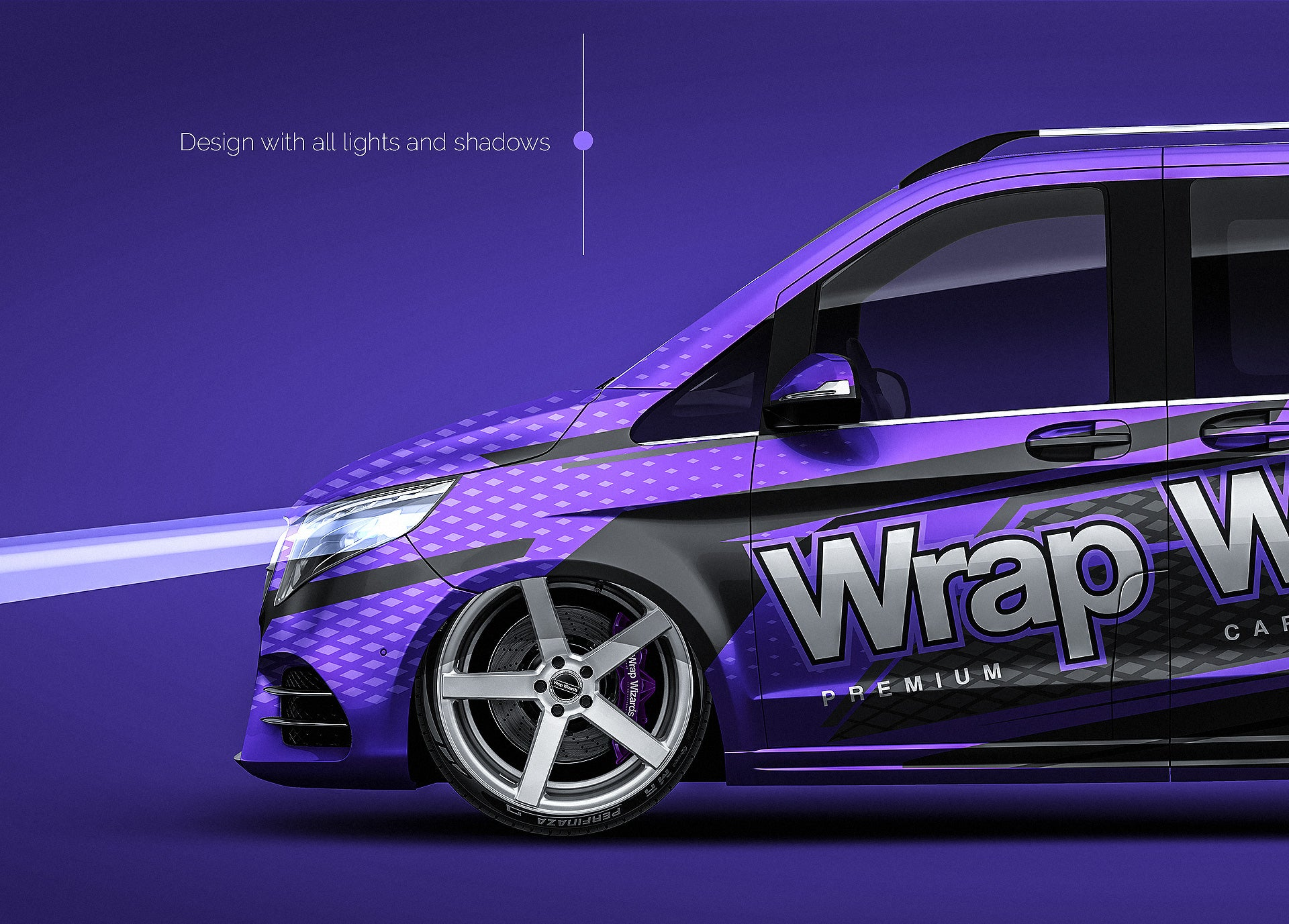 Mercedes Benz V-Class AMG 2020 all sides Car Mockup Template.psd