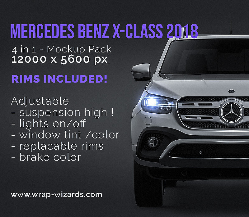 Mercedes Benz X-Class 2018 all sides Car Mockup Template.psd