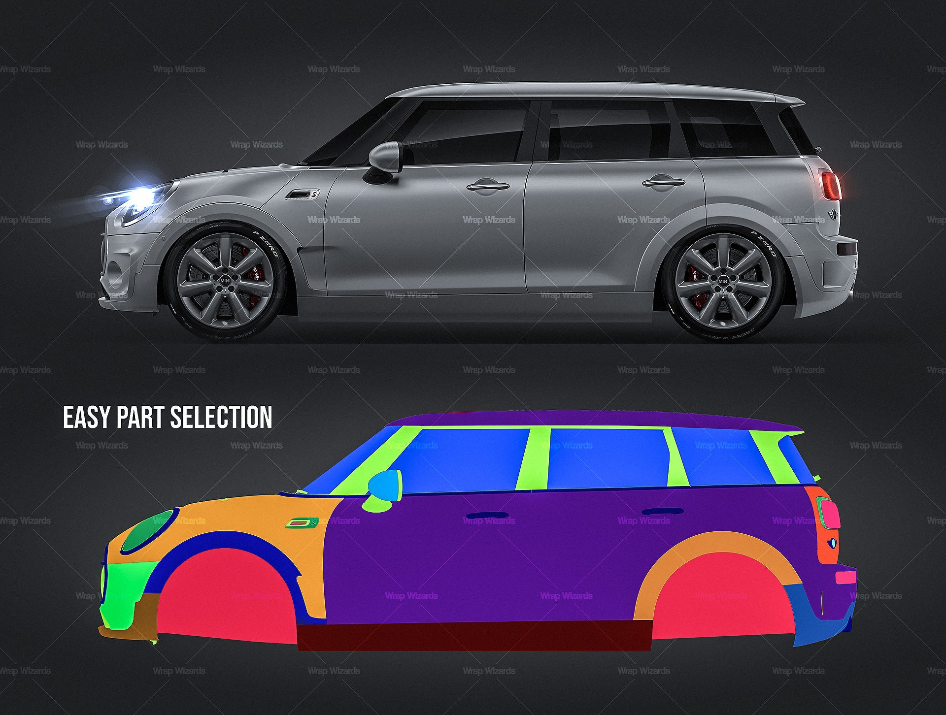 Mini Cooper S Clubman 2019 all sides Car Mockup Template.psd