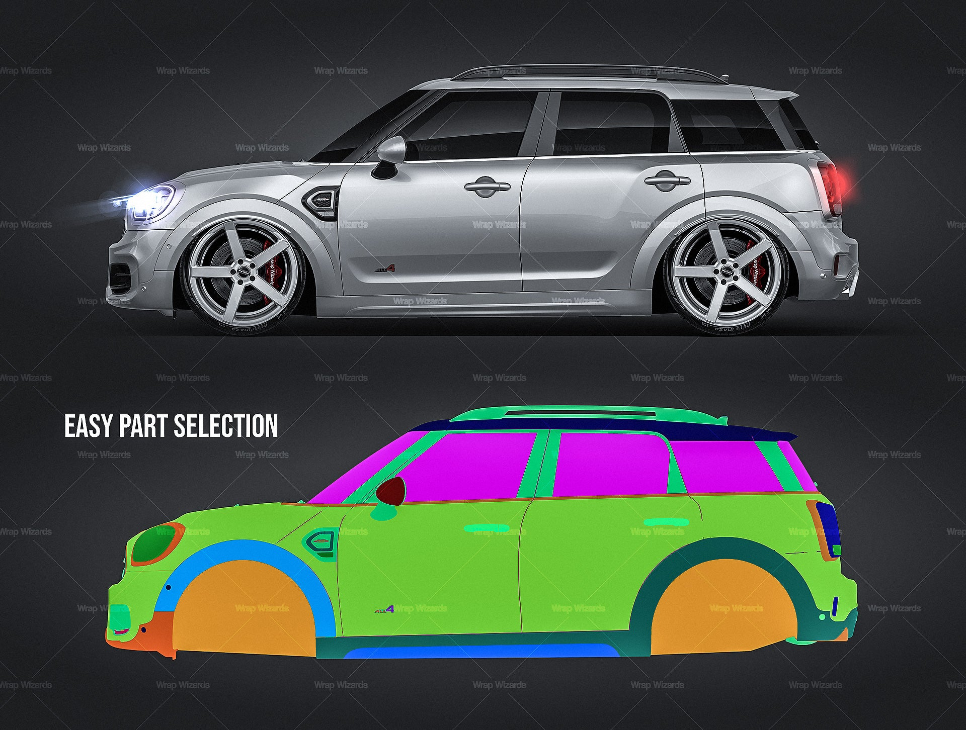 Mini Countryman 2020 John Cooper Works all sides Car Mockup Template.psd