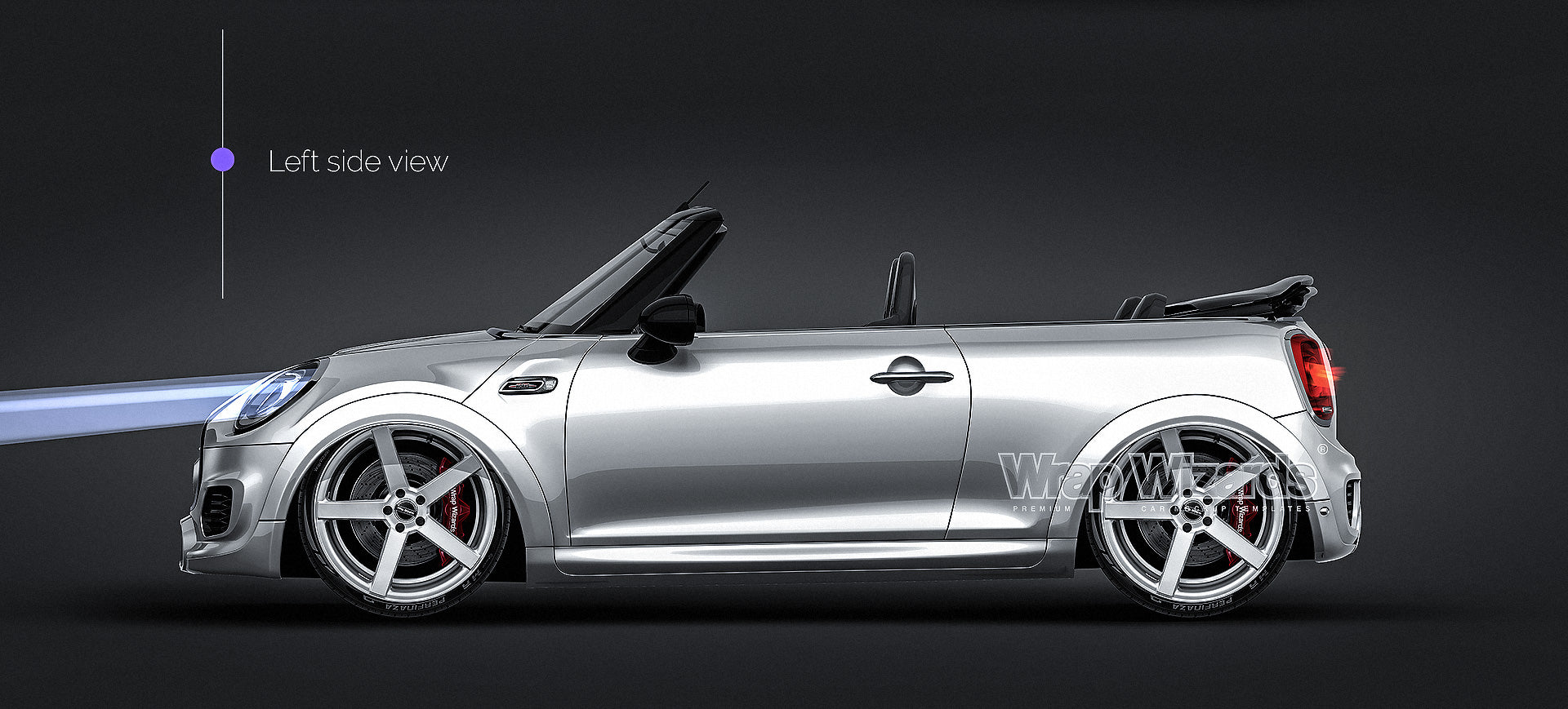 Mini Cooper S Convertible 2016 JCW all sides Car Mockup Template.psd