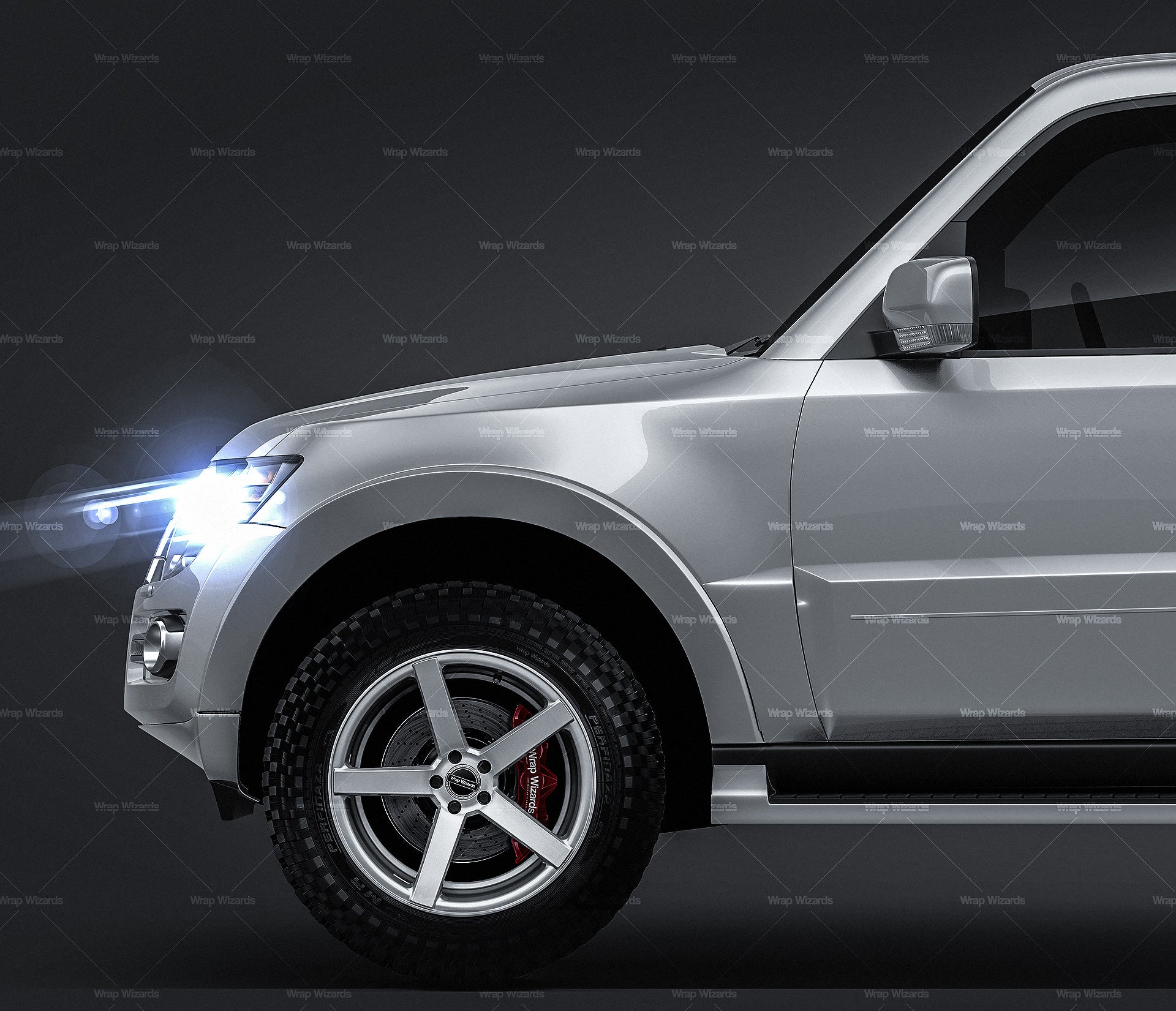 Mitsubishi Pajero Montero 2015 glossy finish - all sides Car Mockup Template.psd