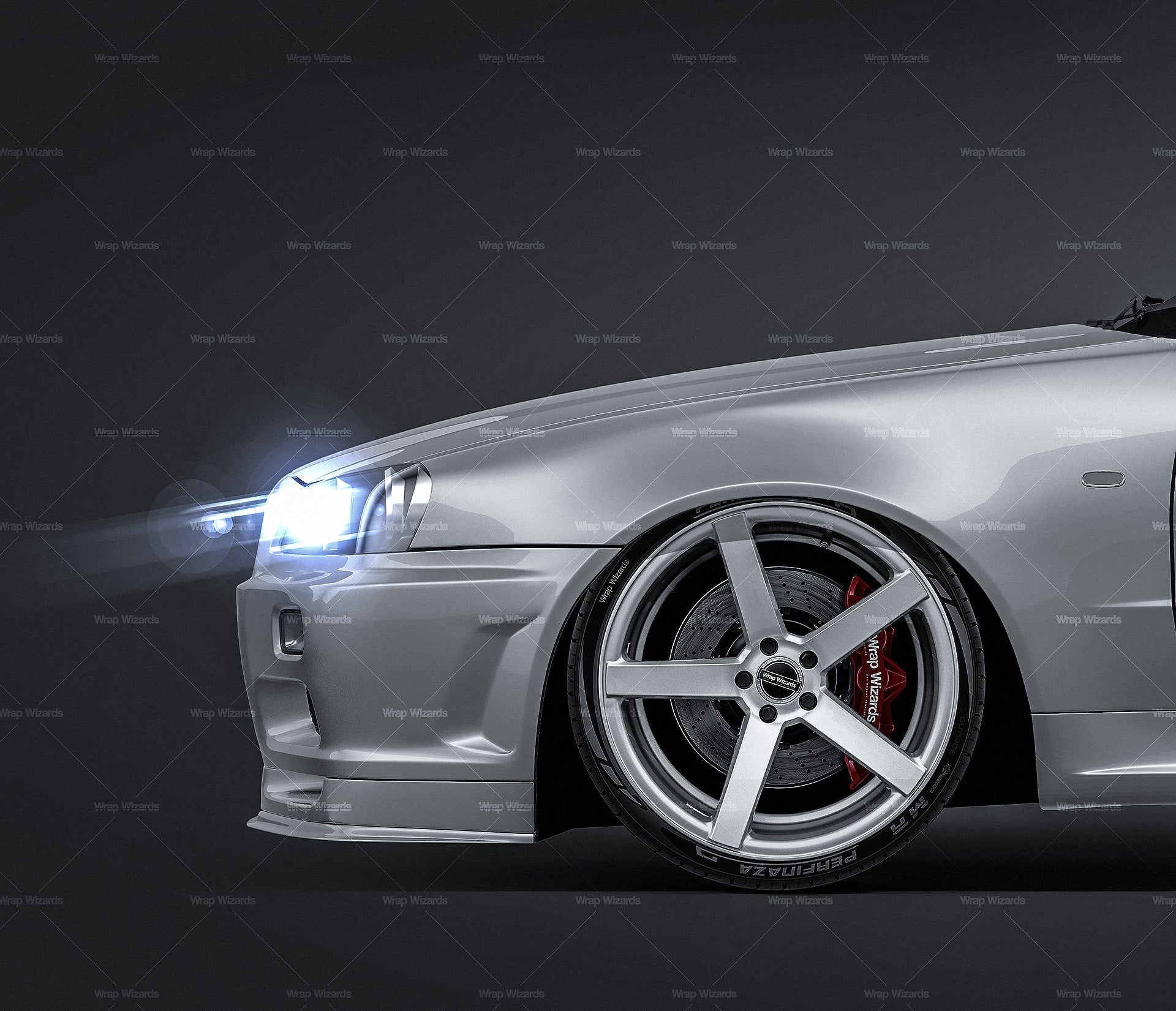 Nissan Skyline R34 GT-R coupe 1999 all sides Car Mockup Template.psd