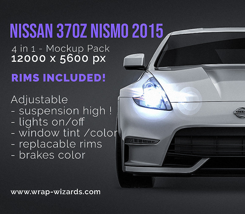 Nissan 370z Nismo 2015 all sides Car Mockup Template.psd